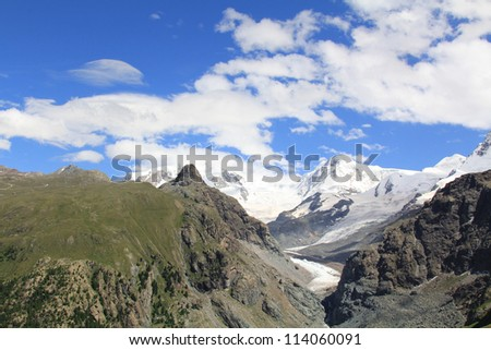 Snow tops and mountains of Switzerland and glaciers