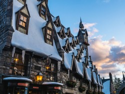 Snow Village at sunset in Wizarding World of Harry Potter , Universal Studio Japan