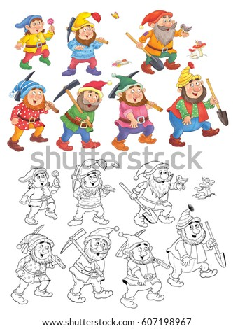 Snow White and the seven dwarfs. Fairy tale. Coloring book. Coloring ...