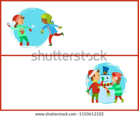 Snowball fights and build a snowman postcards. Happy holidays, children making man of snow, fighting by icy balls, raster posters, text sample and circle