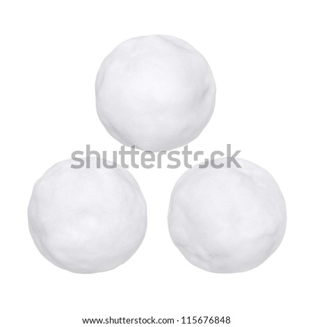 Snowballs or hailstones on a white background