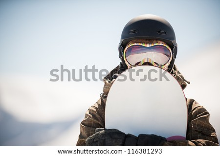 snowboard and snowboarder extreme winter sport