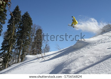 Snowboard freerider  in the mountains #175656824