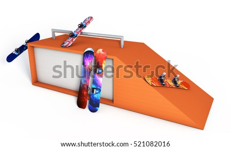 snowboard jumping near a white background 3d render