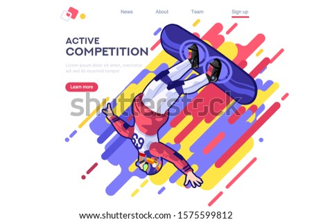 Snowboard, jumps in the nature. Male outdoors. Dangerous activity entertainment. Cool clothing for sportsman active. Clothe set. Competition, vacation, extreme road, winter landscape for young people