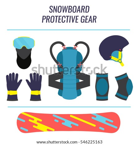 Snowboard protective gear icon set. Safety equipment tools isolated on white background. Winter sport concept.