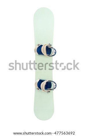 Snowboard with strap-in bindings and stomp pad. Isolated with clipping path.