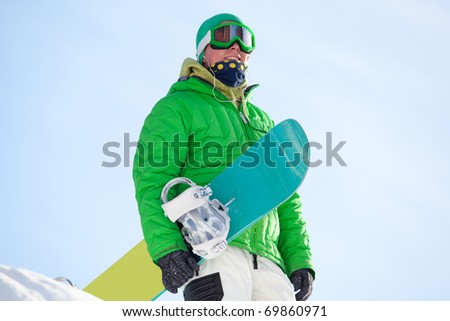 snowboarder against the sky