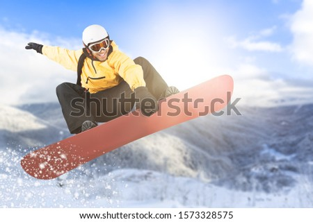 Snowboarder in action. Extreme winter sports. #1573328575