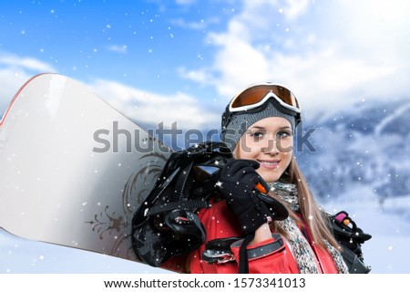 Snowboarder in action. Extreme winter sports. #1573341013