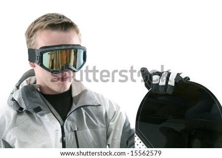 Snowboarder isolated on white with goggles and board