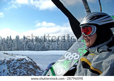 Snowboarder on chairlift