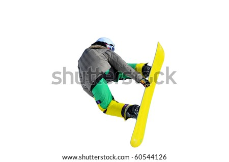 snowboarder performing a rear grab on a yellow snowboard isolated against a white background
