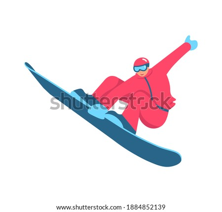 Snowboarder performing a trick jump isolated on white background. Flat Art Rastered Copy