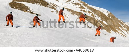 Snowboarder performing jump trick. Series shot. Slight  motion blur of snowboarder to indicate speed