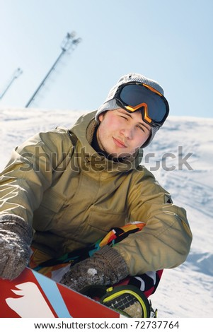 Snowboarder sitting on a ski slope