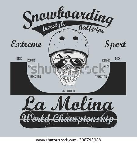Snowboarding Half-Pipe, T-shirt fashion graphic, winter sport emblem, Typography Print label -  illustration