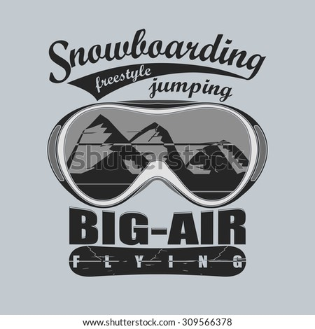 Snowboarding winter sport goggles emblem