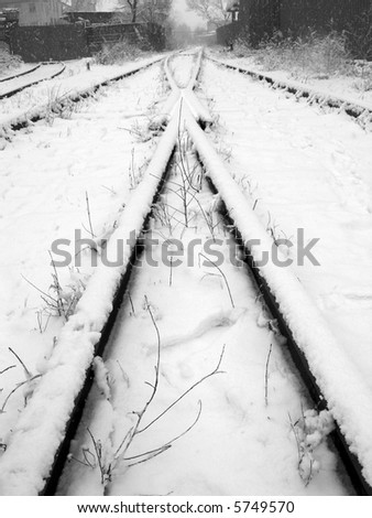 Snowbound rails, black&white