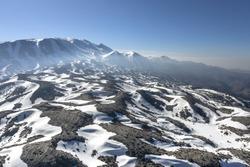 Snowcapped mountain landscape on the mountain of Psiloritis (Ida), Crete, Greece