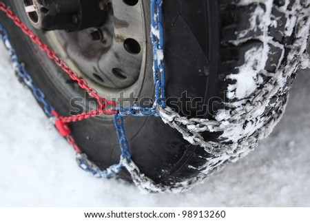 Snowchain on wheel