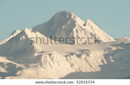 Snowcovered Mountains in  Alaska. Alaska Chilkat Bald Eagle Preserve. Alaska. USA