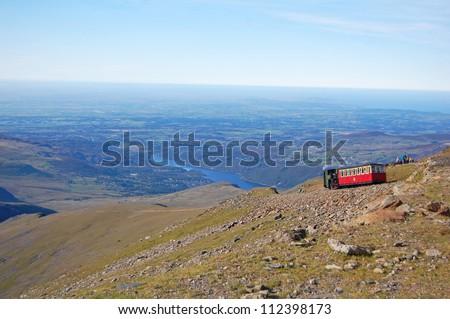 Snowdon mountain railway train in Wales
