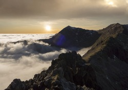 Snowdonia mountain sunset view with cloud inversion, Wales UK