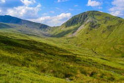 Snowdonia National Park. Epic views of mountains and valleys covered with vibrant grass and soft moss