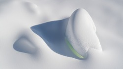 Snowdrift with green light. Snow background. Perfect snow surface in winter. Shiny white snow. Winter dune.