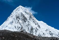 Snowed Pumori summit in Himalaya. Travel to Nepal