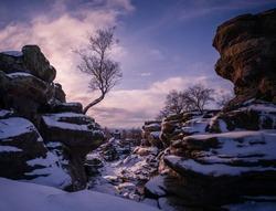 Snowfall at Brimham Rocks, North Yorkshire