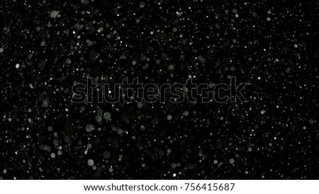 Snowfall Bokeh Lights on Black Background, Shot of Flying Snowflakes in the Air #756415687