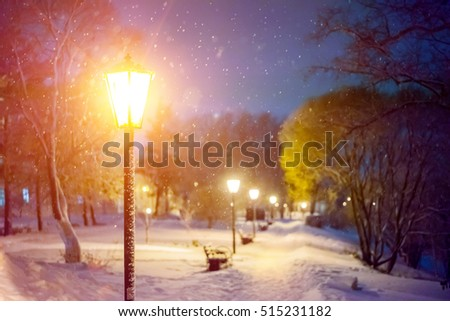 Snowfall in the city. Severe weather in the park. Winter landscape - bench under winter trees and shining lights. Night scene with falling snowflakes.