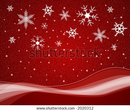 Snowfall scene with large snow flakes - stock photo