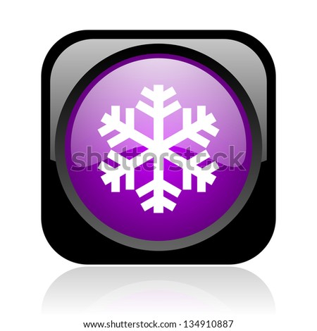 snowflake black and violet square web glossy icon