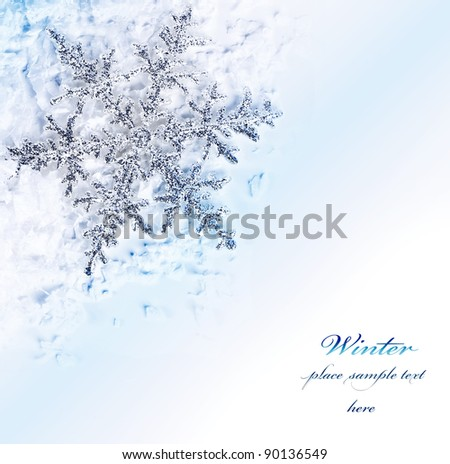 Snowflake blue decorative border, beautiful blue cold frozen snow background, Christmas tree ornament and decoration, winter holidays abstract frame with text space