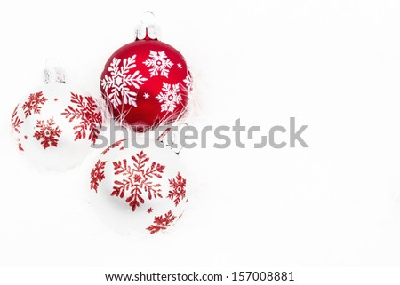 Snowflake Christmas Ornaments On White Background #157008881