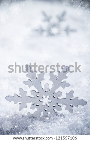 Snowflake decoration, winter holiday background