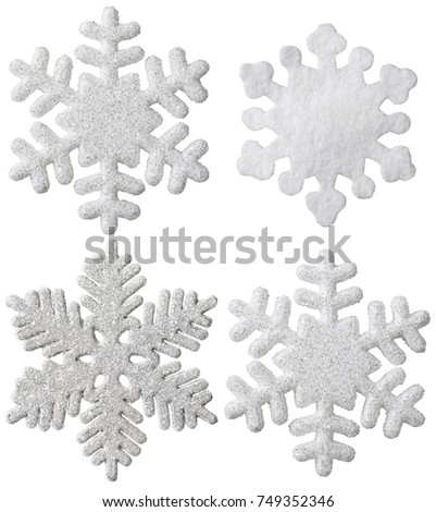 Snowflake Isolated Christmas Hanging Decoration, White Snow Flake Ornament, New Year Toy #749352346