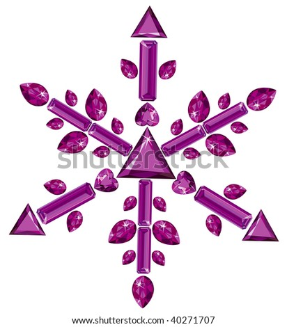 Snowflake made from different cut amethysts. Vector version is available in portfolio.