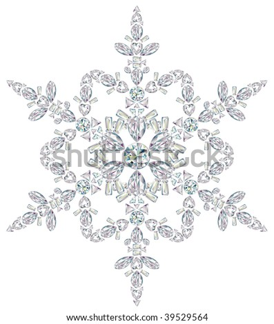 Snowflake made from different cut diamonds.