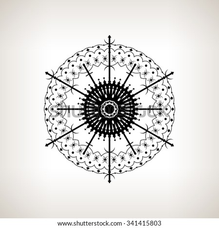 Snowflake  on a Light Background, Christmas Decoration, Openwork Pattern in the Form of Snowflakes, Drawing in Linear Style,  Black and White  Illustration