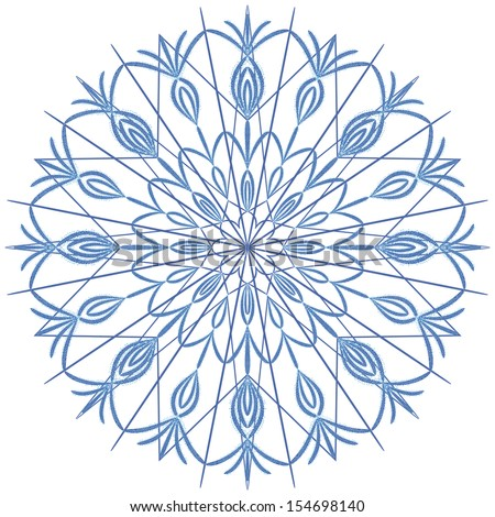 Snowflake on a white background, raster graphics.