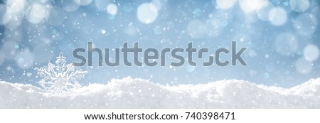 Snowflake on snow.Winter holidays background. - Shutterstock ID 740398471