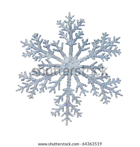 Snowflake shape decoration with clipping path included - stock photo