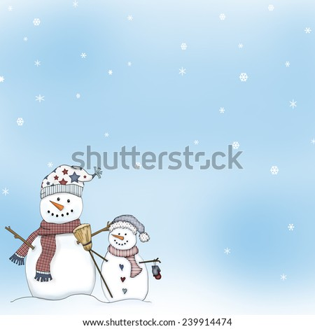 Snowflake Winter Sky Background with Snowman Clip Art