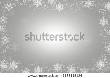 Snowflakes as a border on a Gray background with snowflakes as a border #1183116124