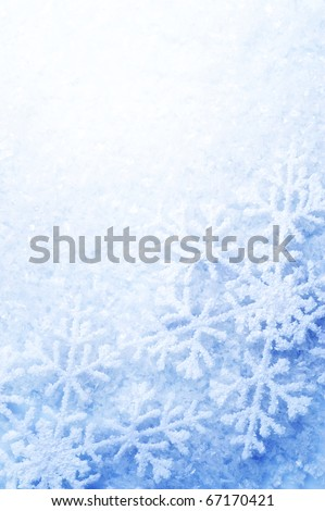 Snowflakes border over Snow.Winter Holiday Background