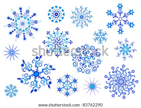 Snowflakes collection - stock photo